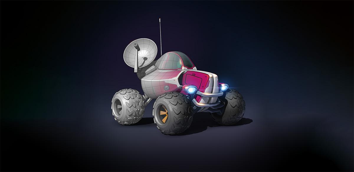 finishing vehicle space sci-fi car render model 3d