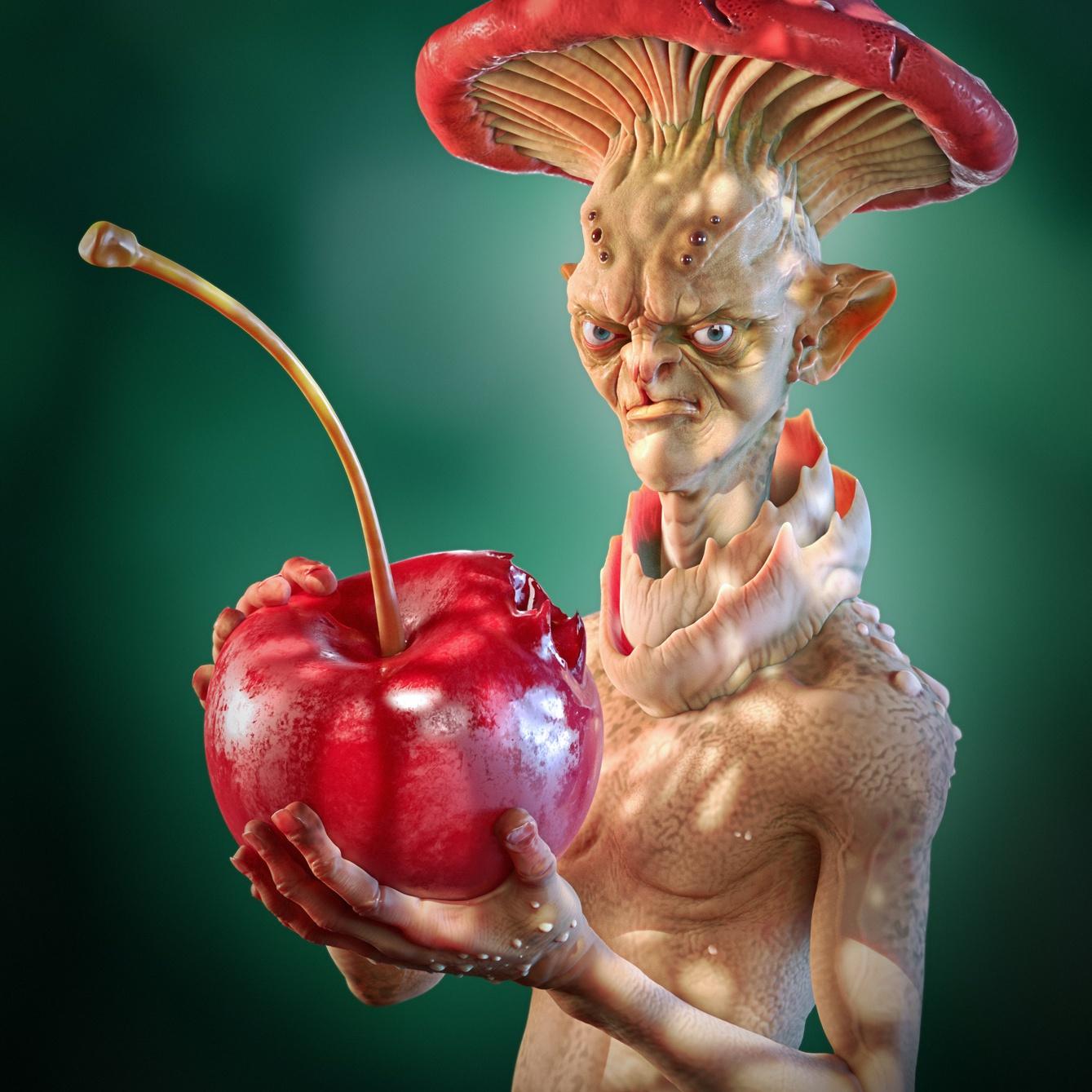 fantasy character design mushroom with cherry 3d model