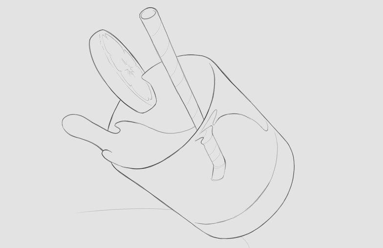 final linework sketch glass spilling liquid drink 2d design
