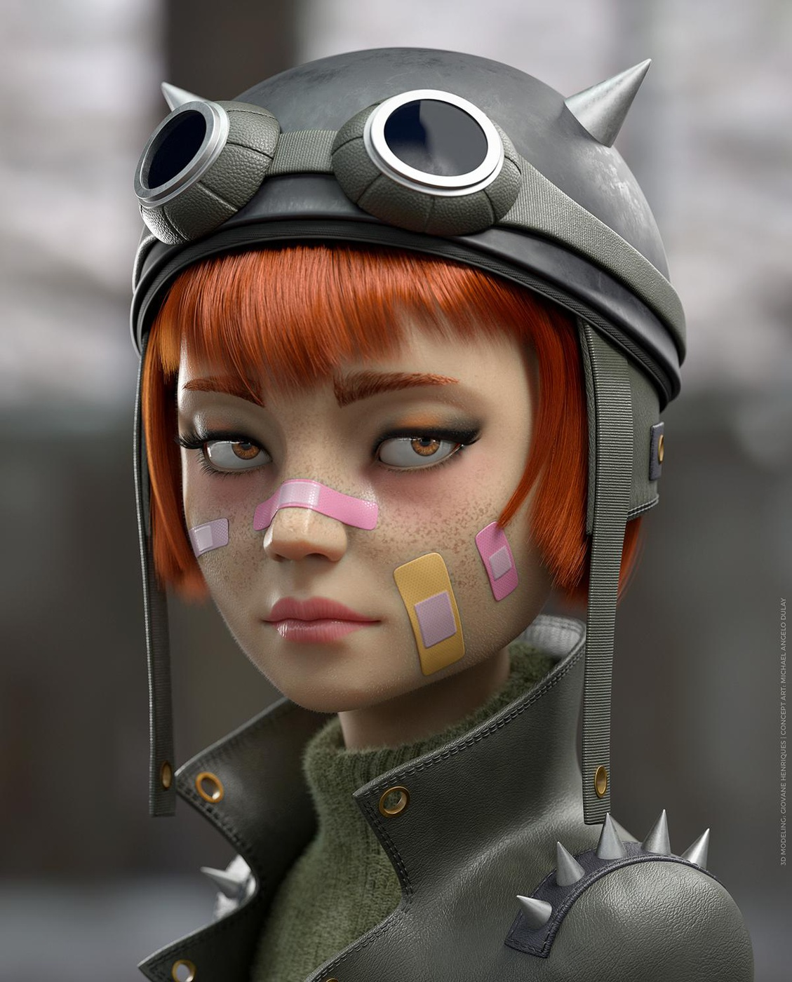rider steampunk girl 3d model