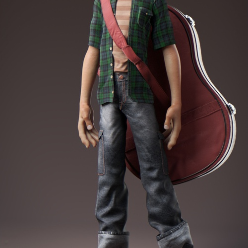 blonde boy with guitar 3d character design