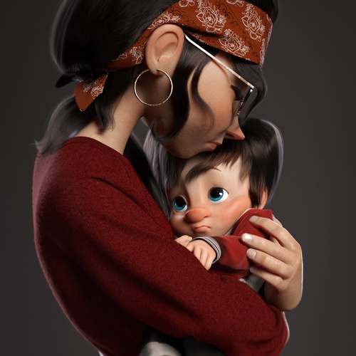 motherly picture son mother character design 3d render sculpture