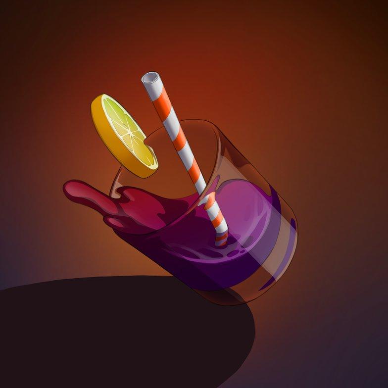 desaturating colour white reflections alcoholic drink lemon glass masking falling liquid 2d illustration