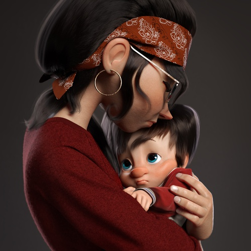 mother and child embracing 3d character design