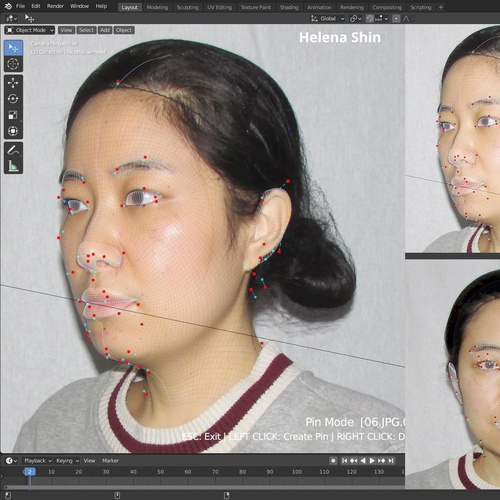 realistic face profile model angles blender