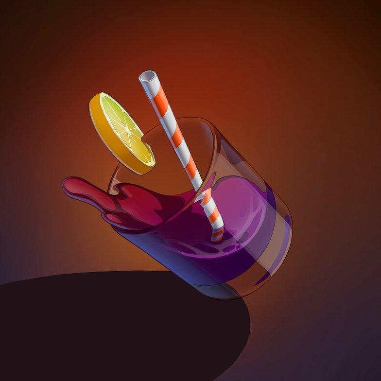 light reflections rendering alcoholic drink lemon glass masking falling liquid 2d illustration