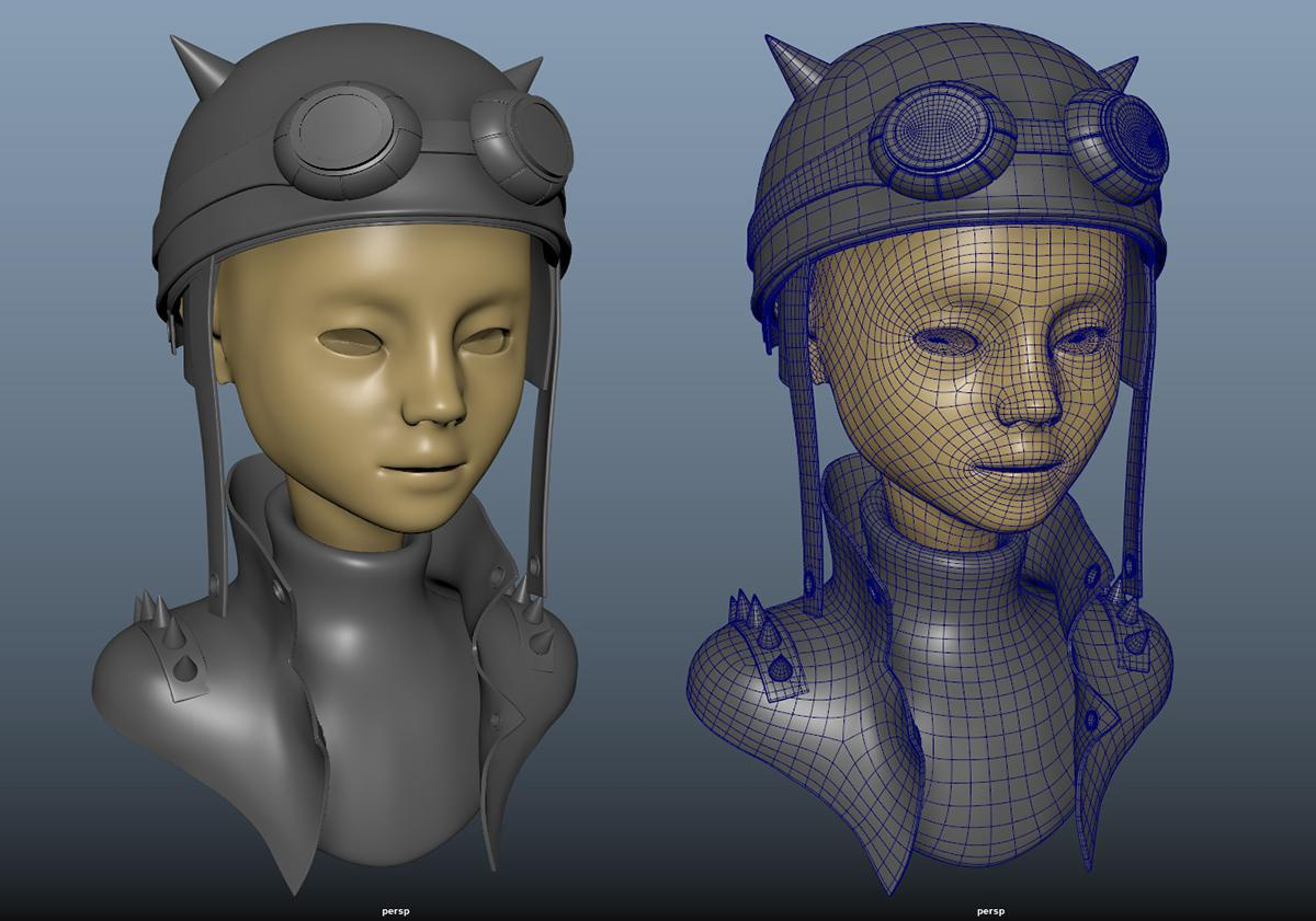 Retopology rendering 3d model
