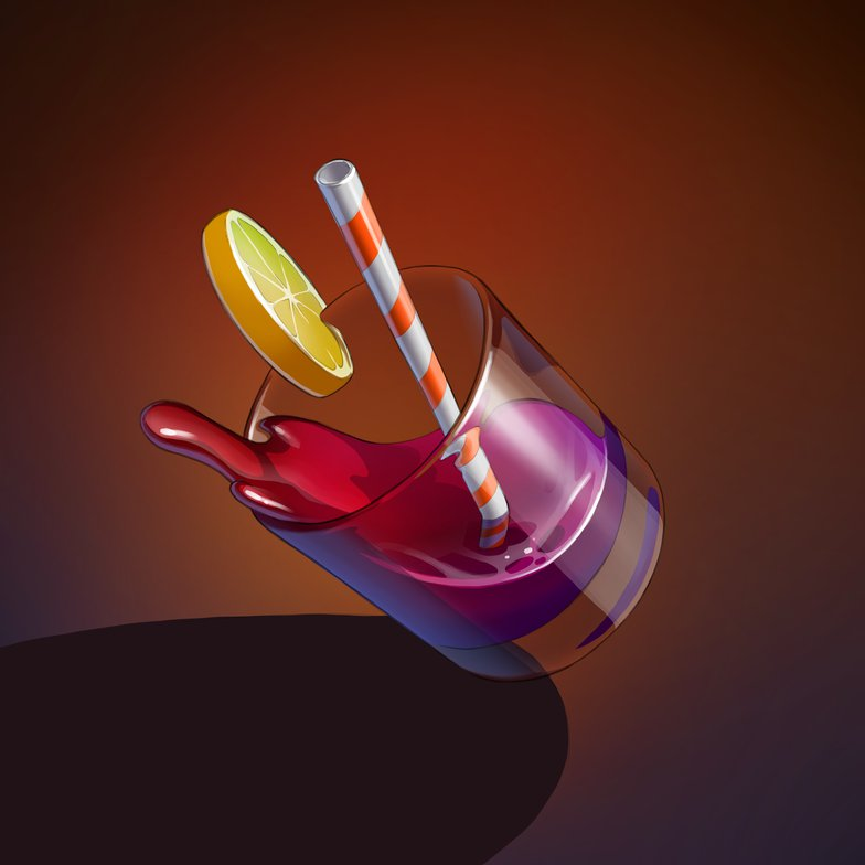 highlights 3d elements alcoholic drink lemon glass masking falling liquid 2d illustration