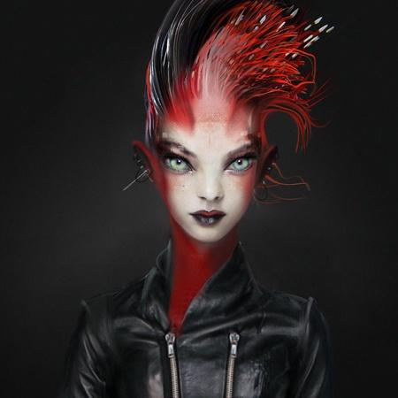 futuristic female character design model 2d illustration