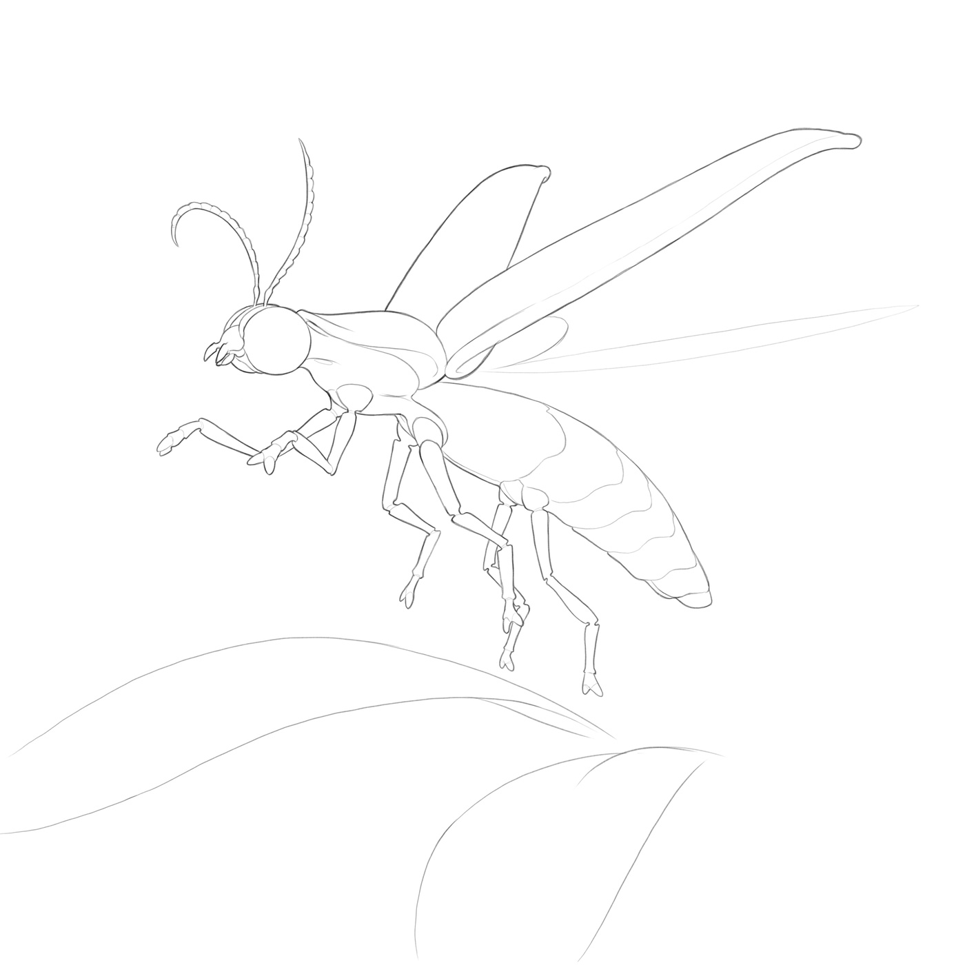 line art final render sketch glowing insect creature design model render glow effect photoshop