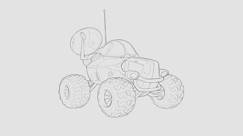 line art drawing final concept rendering 2d car buggy sci-fi vehicle