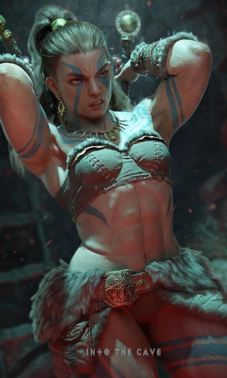 diablo 4 fanart inspired female character model battle warrior