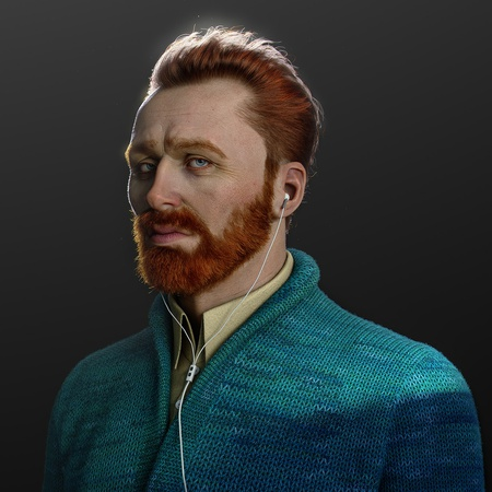 van gogh with earphones