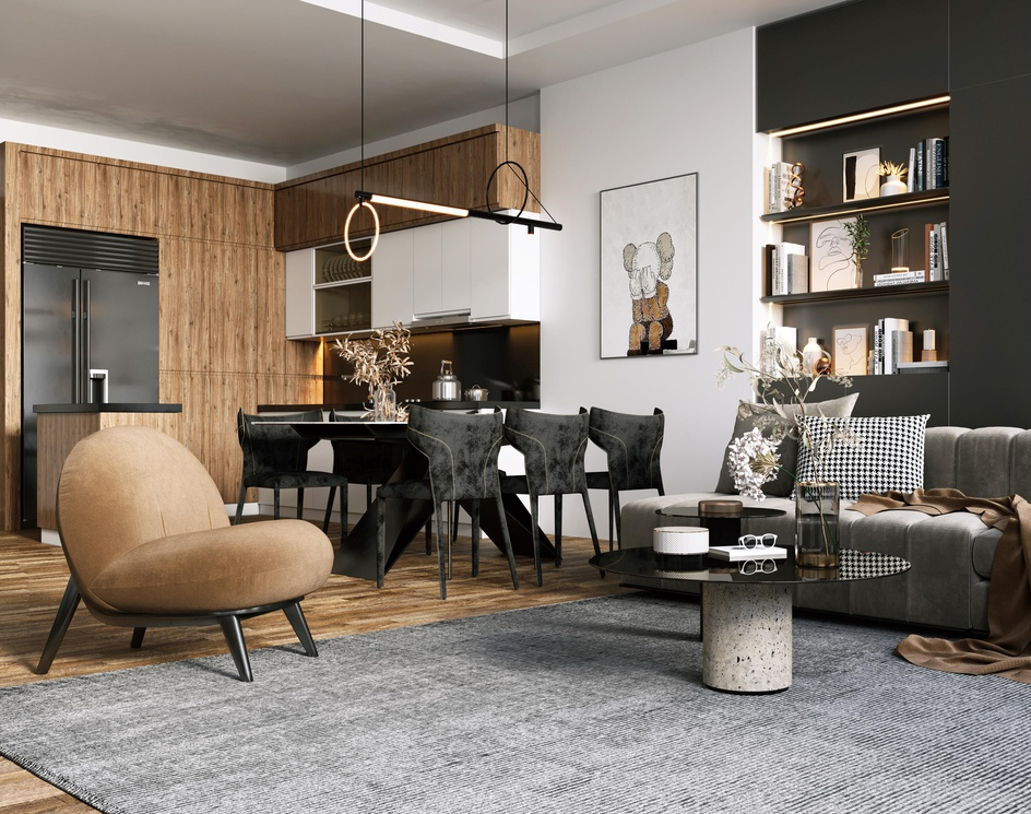 modern kitchen and living roomby Rmy