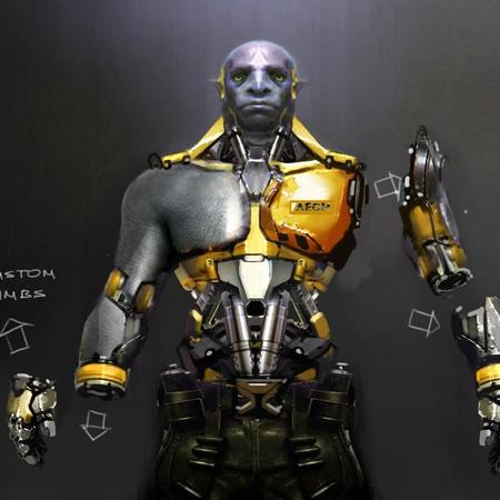 cybernetic model male character design plan