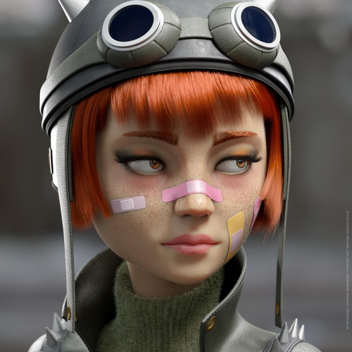 female rider girl 3d model