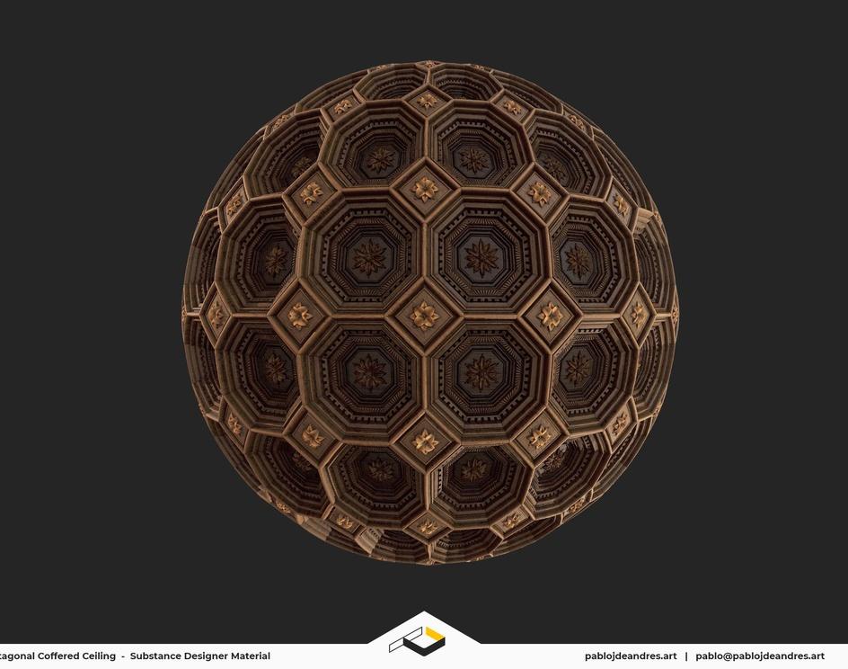 Octagonal Coffered Ceiling - Substance Designer Materialby Pablo J. de Andrés