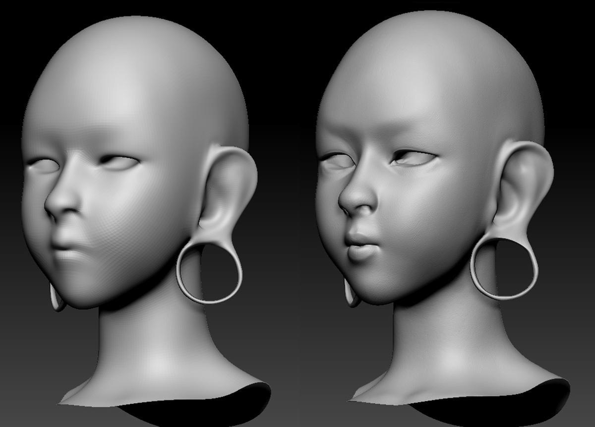 face model 3d blending character design