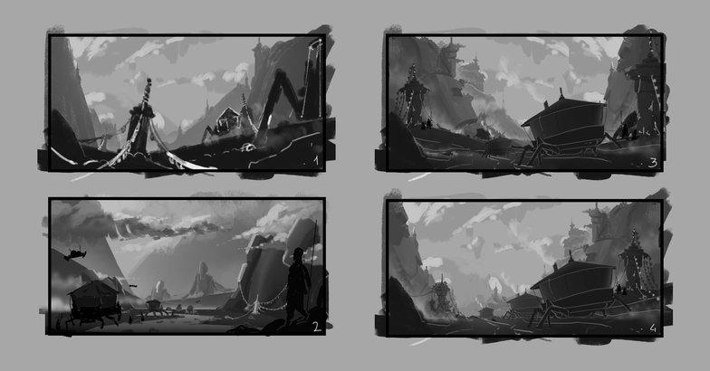 drawing landscape tones