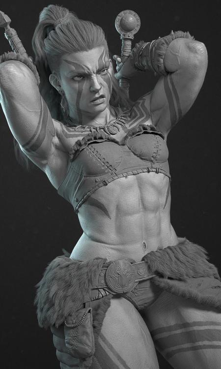 diablo 4 game  inspired female character model battle warrior
