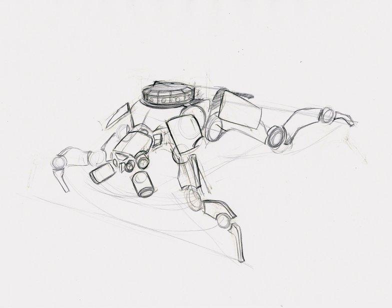 Quadruped robot rough line art