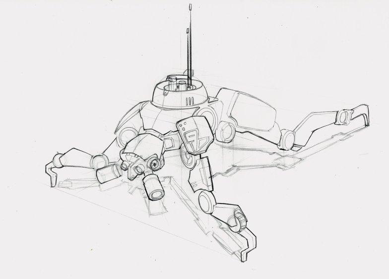 Quadruped robot clean line art