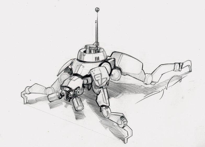 Quadruped robot finale pencil sketch
