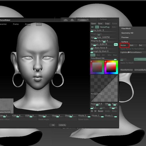 detailing specifics 3d face  design