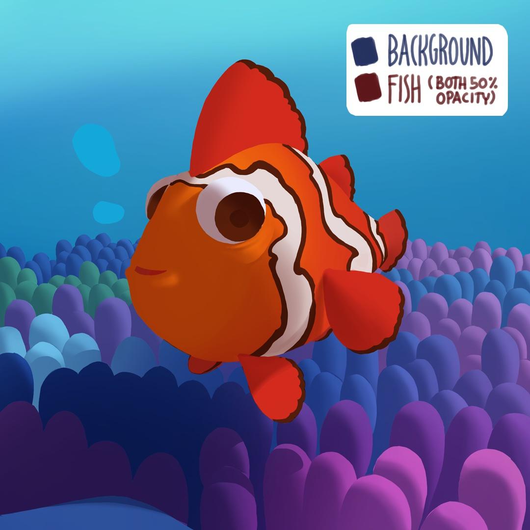 clown fish 2d illustration background designs