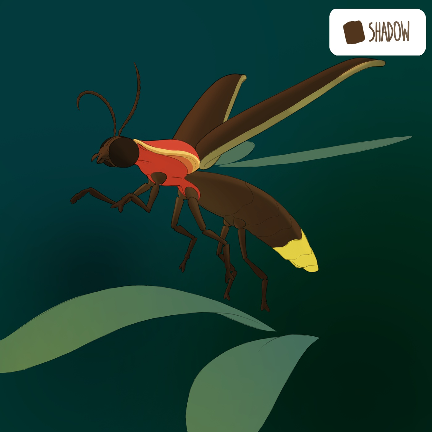 flat colour wash glowing insect creature design model render glow effect photoshop