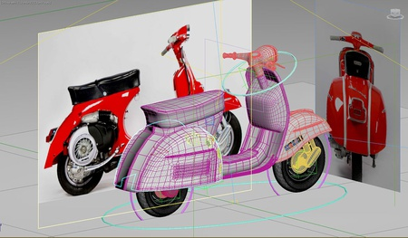 Vespa model in viewport