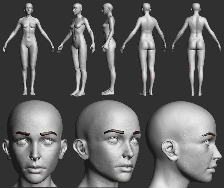 3d rendering model female character