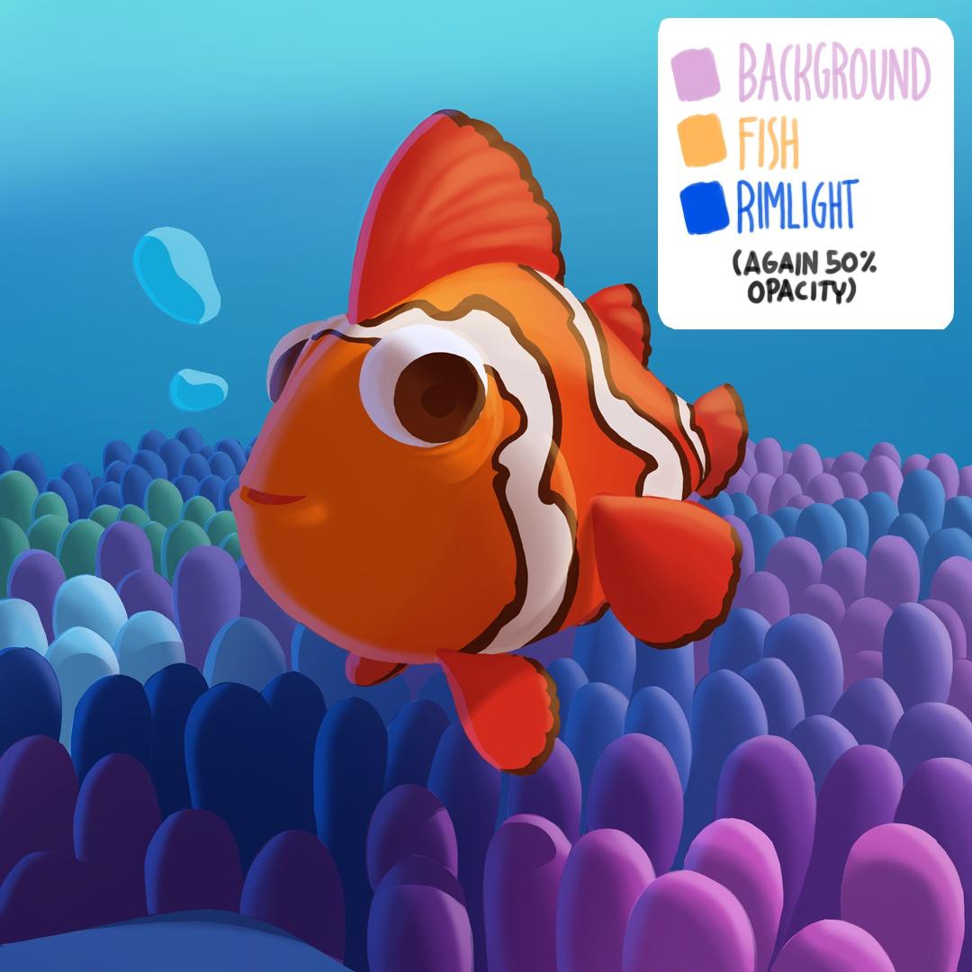 background fish light rimlight effects 2d clown fish