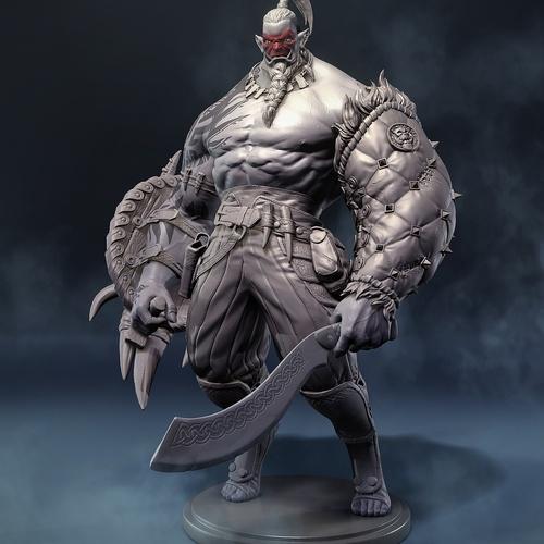 orc bouncer silhouette 3d render sculpt model design