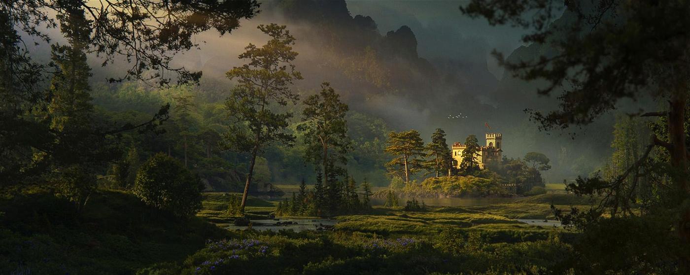 pine castle scenery 2d illustration