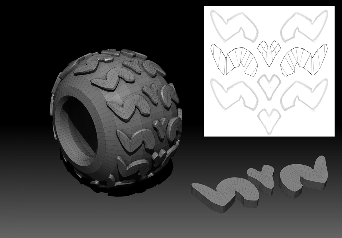 referencing machine tires illustrations detailing 3d rendering