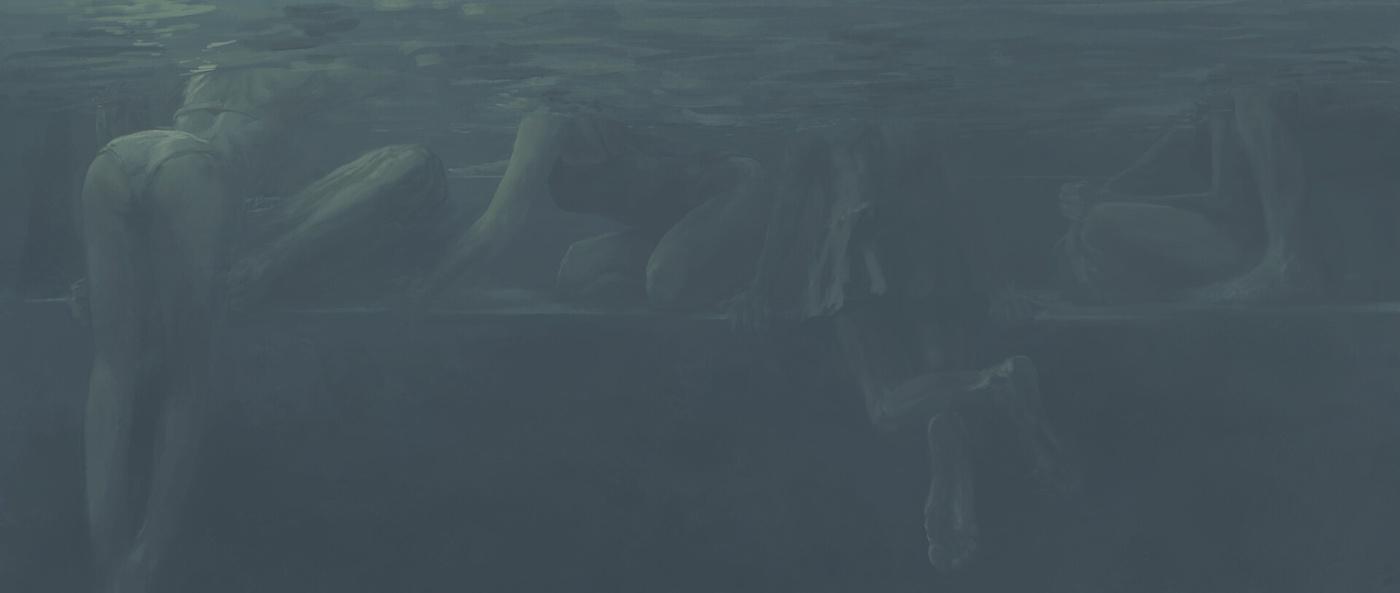 sketch digital art underwater people design