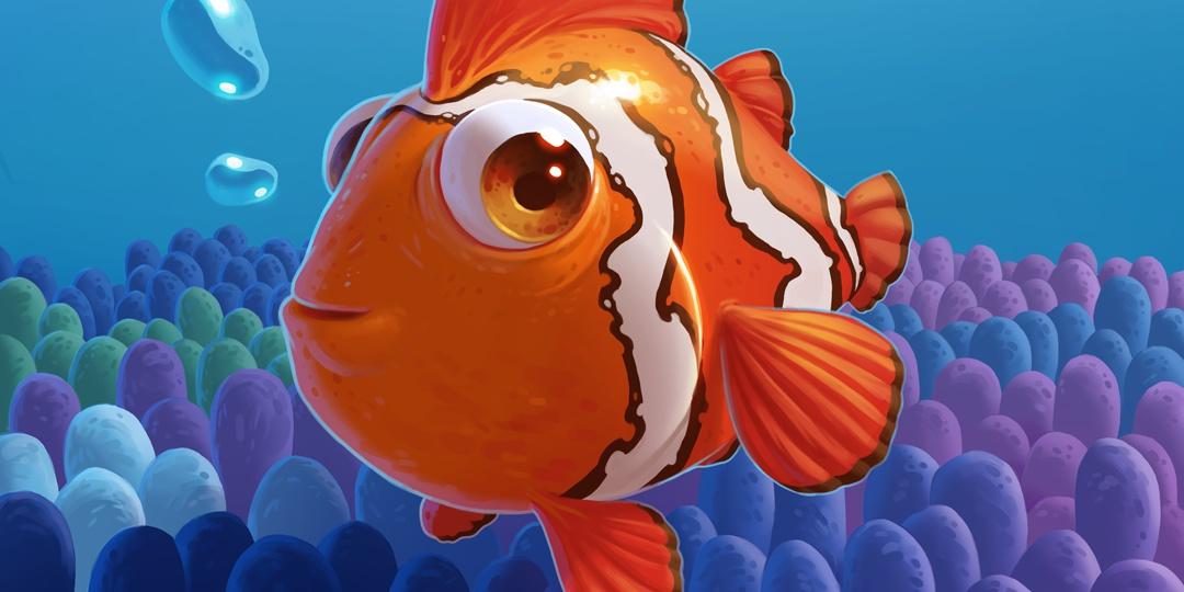 render 3d clownfish illustration coral reef ocean sea
