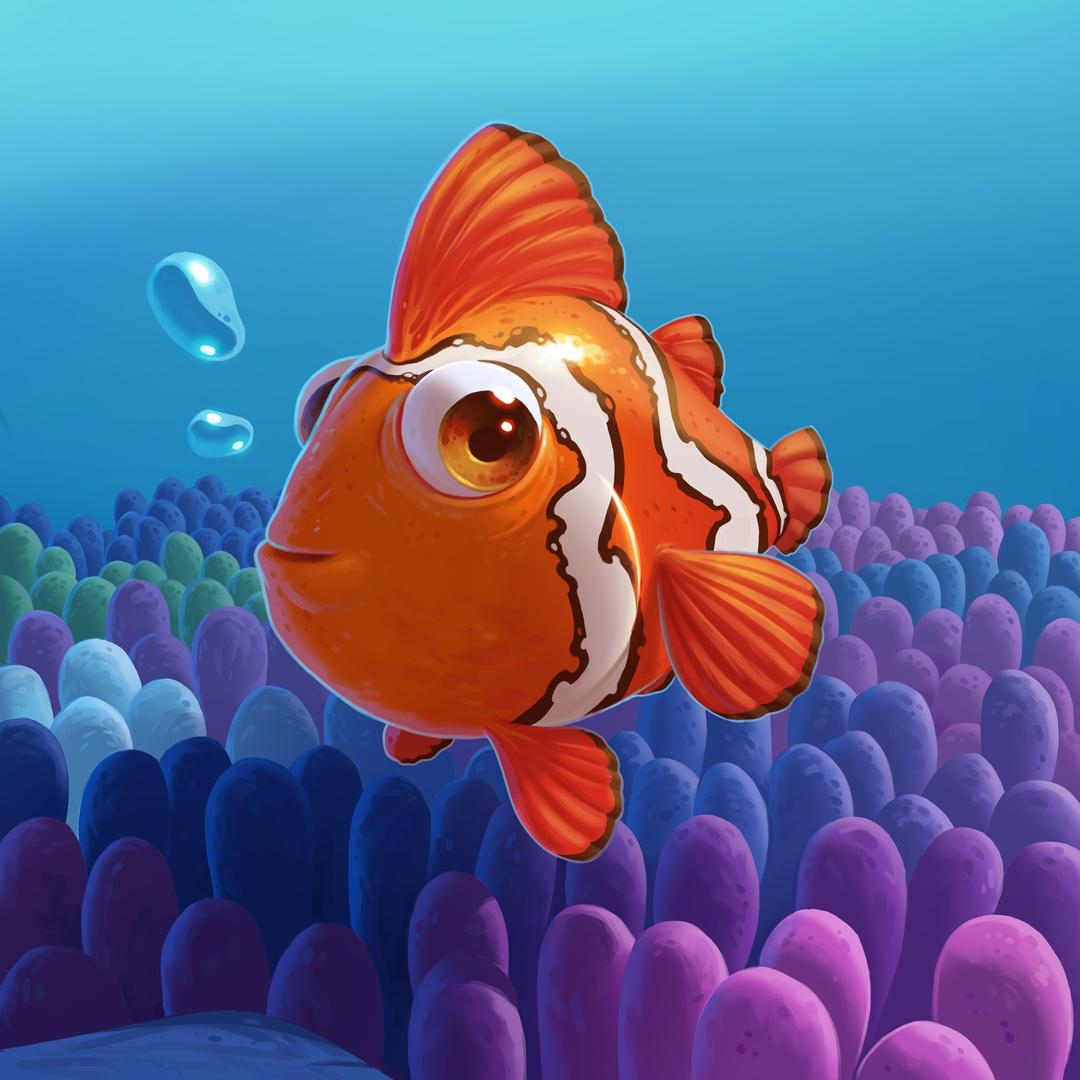 clown fish render illustration design ocean clowfish coral