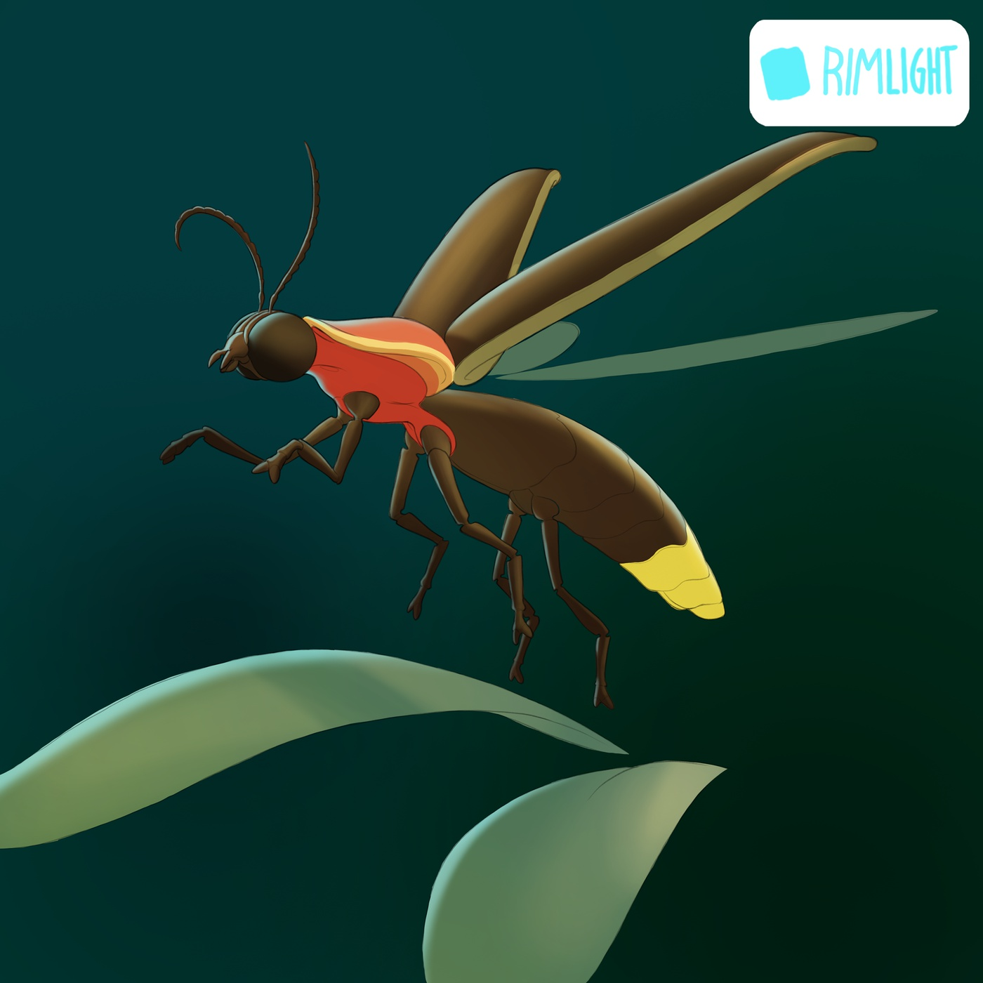 rimlight backlight glowing insect creature design model render glow effect photoshop