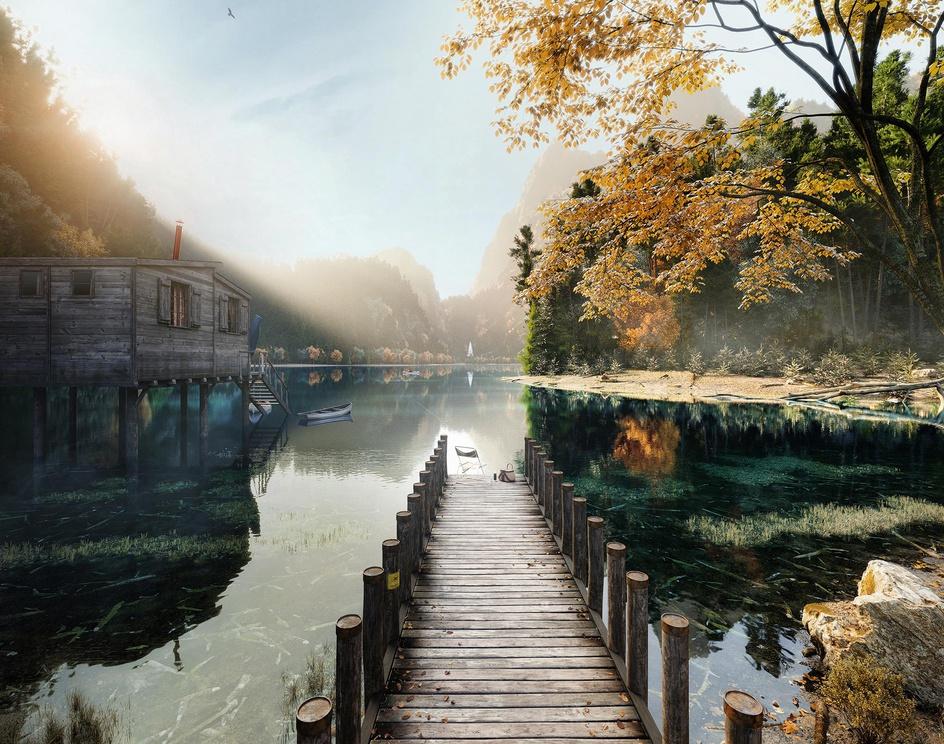 SUNRISE TIME IN MOUNTAIN LAKE  |  Full CGby Mykhaylo Faydula