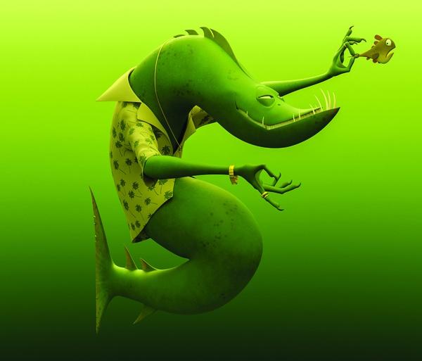 blender reptilian character creature design green model