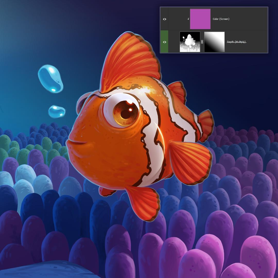 clownfish depth saturation masking layering 2d illustration