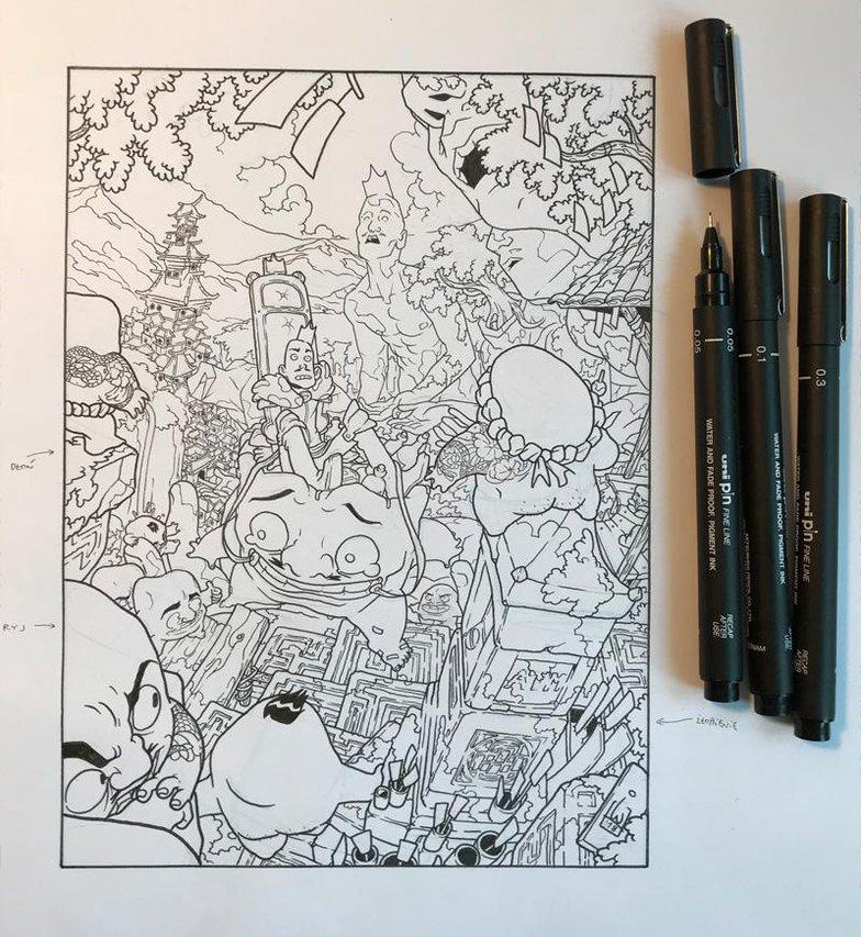 Igor Wolski fine line black ink sketch