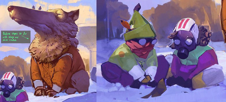 defining detail painting 2d illustration snow