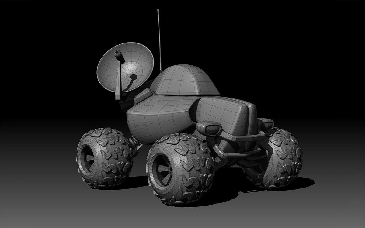 robotic machine vehicle 3d model render mechanical machinery