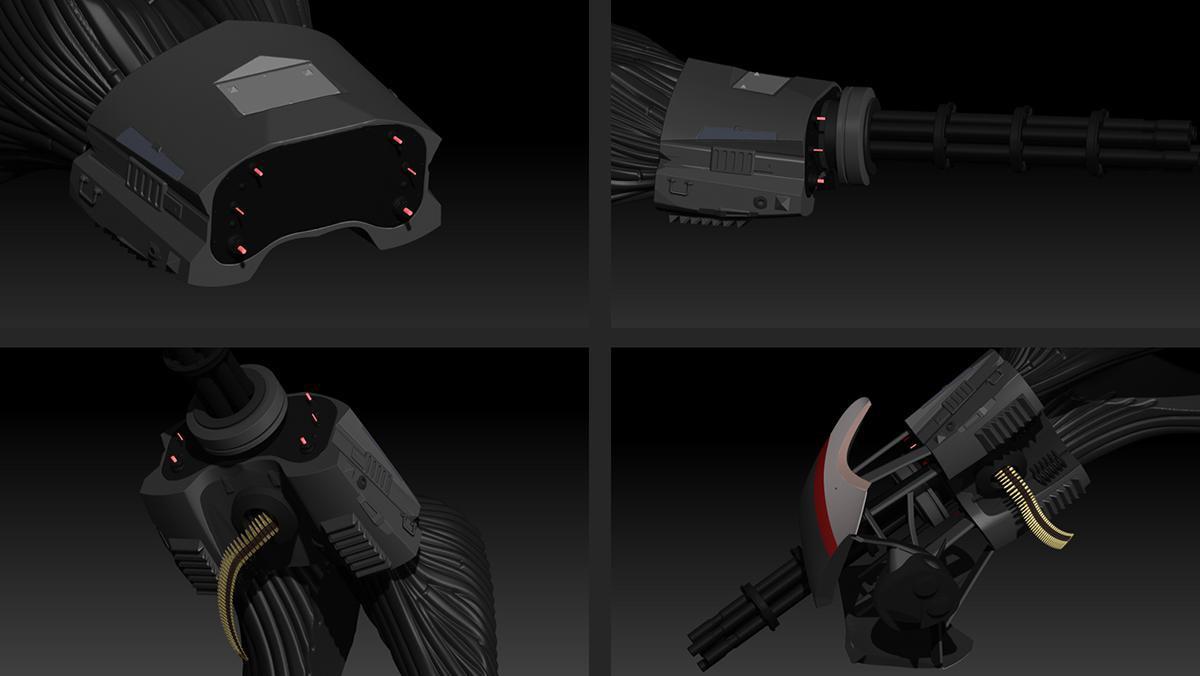 gun mount pespectives 3d