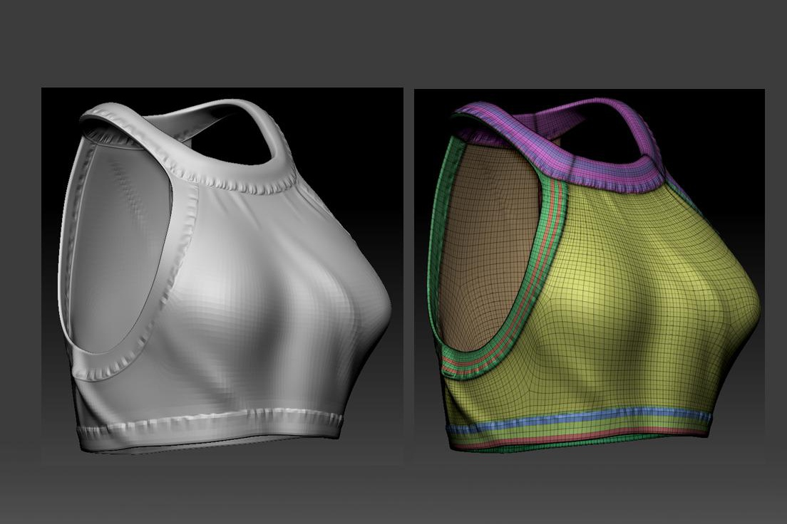 clothing materials detailing 3d top