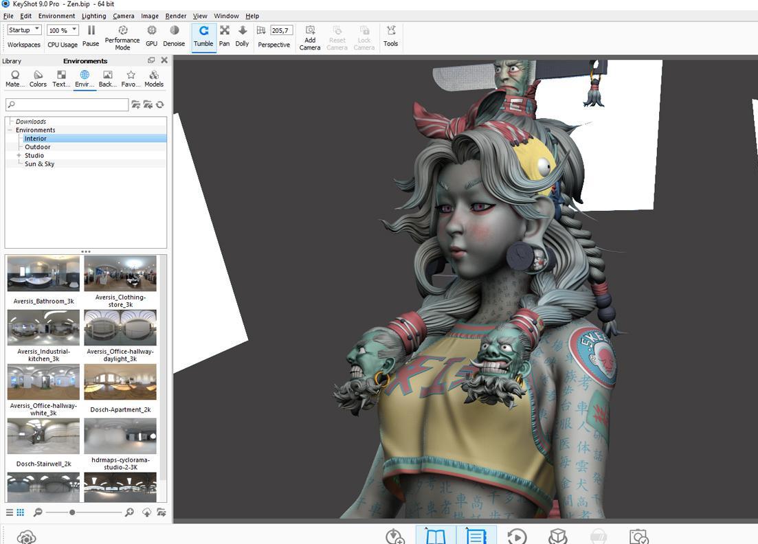asian inspired female character design 3d model