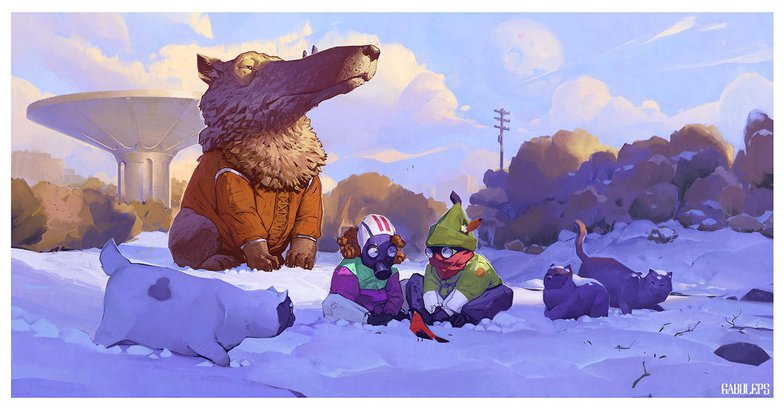 clean version detailed illustration snow landscape